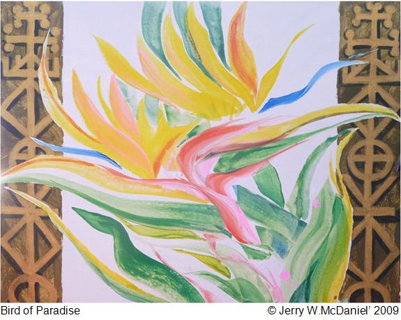 Bird of Paradise Acrylic painting